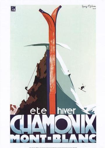 Poster Vintage ski Chamonix
