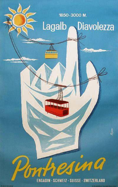 Poster Vintage ski Pontresina