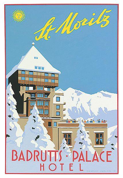 Poster Vintage ski St Moritz