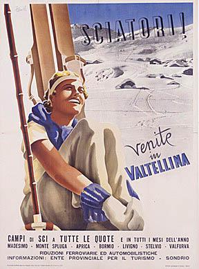 Poster Vintage ski Valtellina