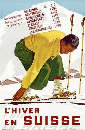 Poster Vintage ski suiza