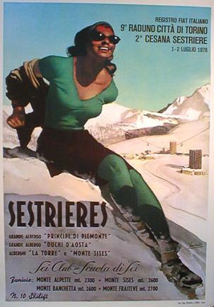 Poster Vintage ski Sestrieres
