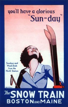 Poster Vintage ski Snow Train Boston