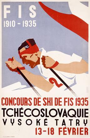 Poster Vintage ski Checoslovaquia