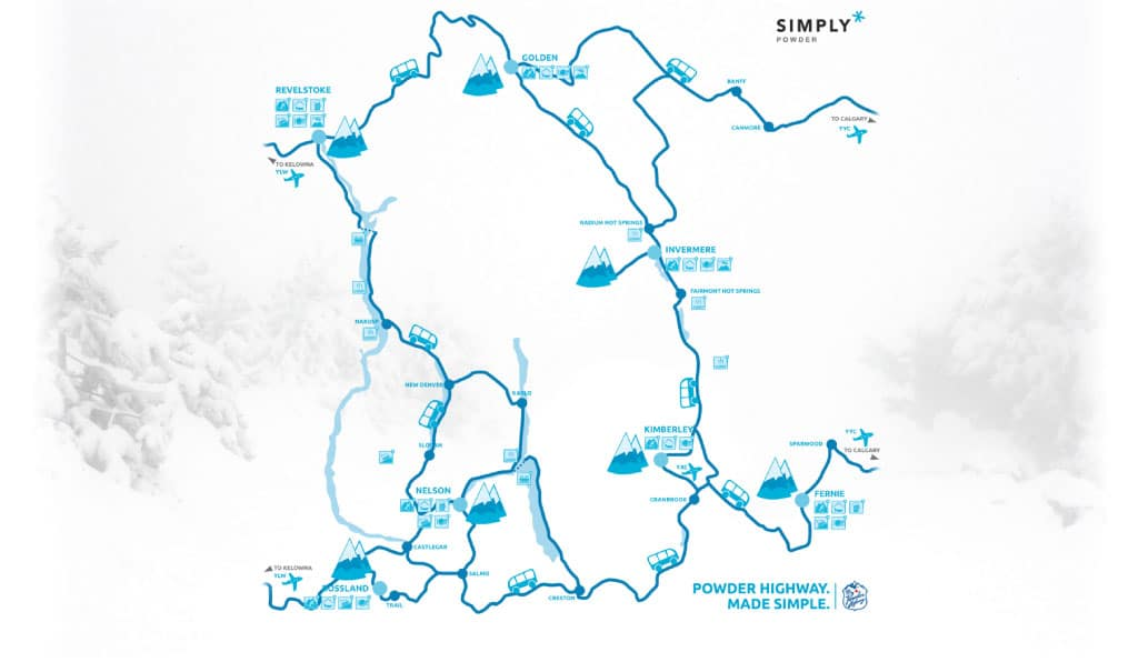 Mapa Powder Highway